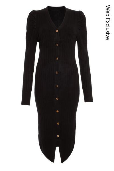 Black Puff Sleeve Knitted Midi Dress
